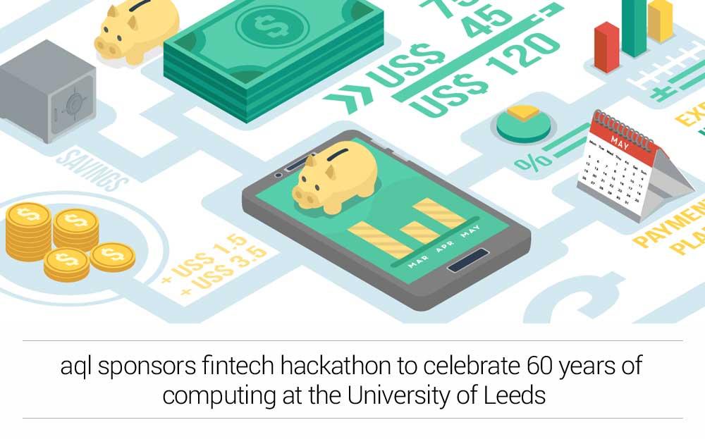 image: aql sponsors fintech hackathon at the University of Leeds